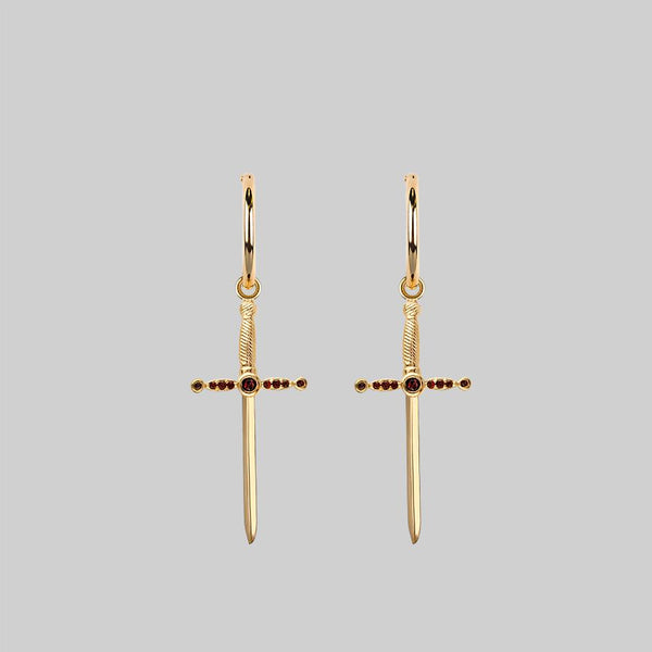 ELYSIAN. Garnet Dagger Hoop Earrings - Gold