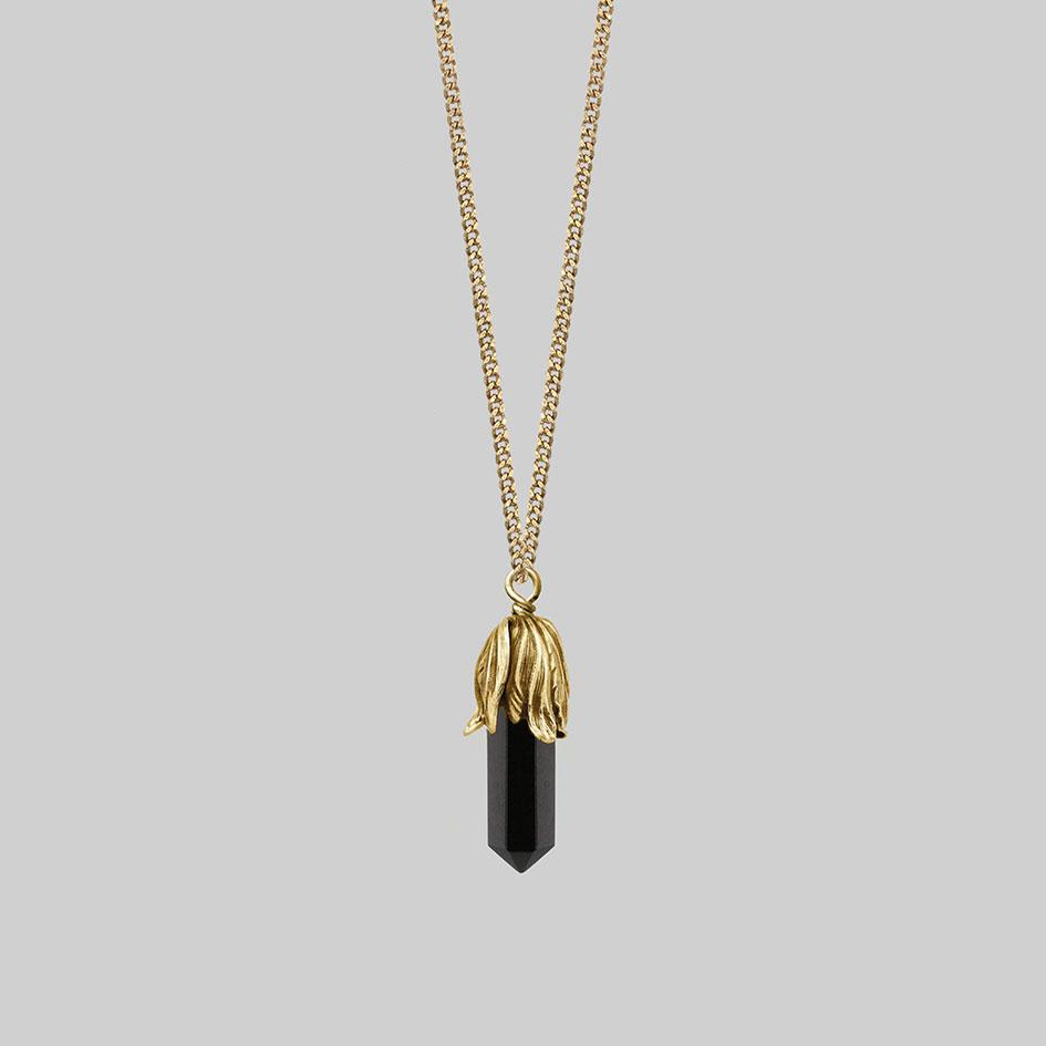 Black gemstone short gold necklace