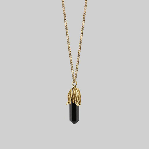 DEATH BLOOM. Black Agate Gemstone Necklace - Gold