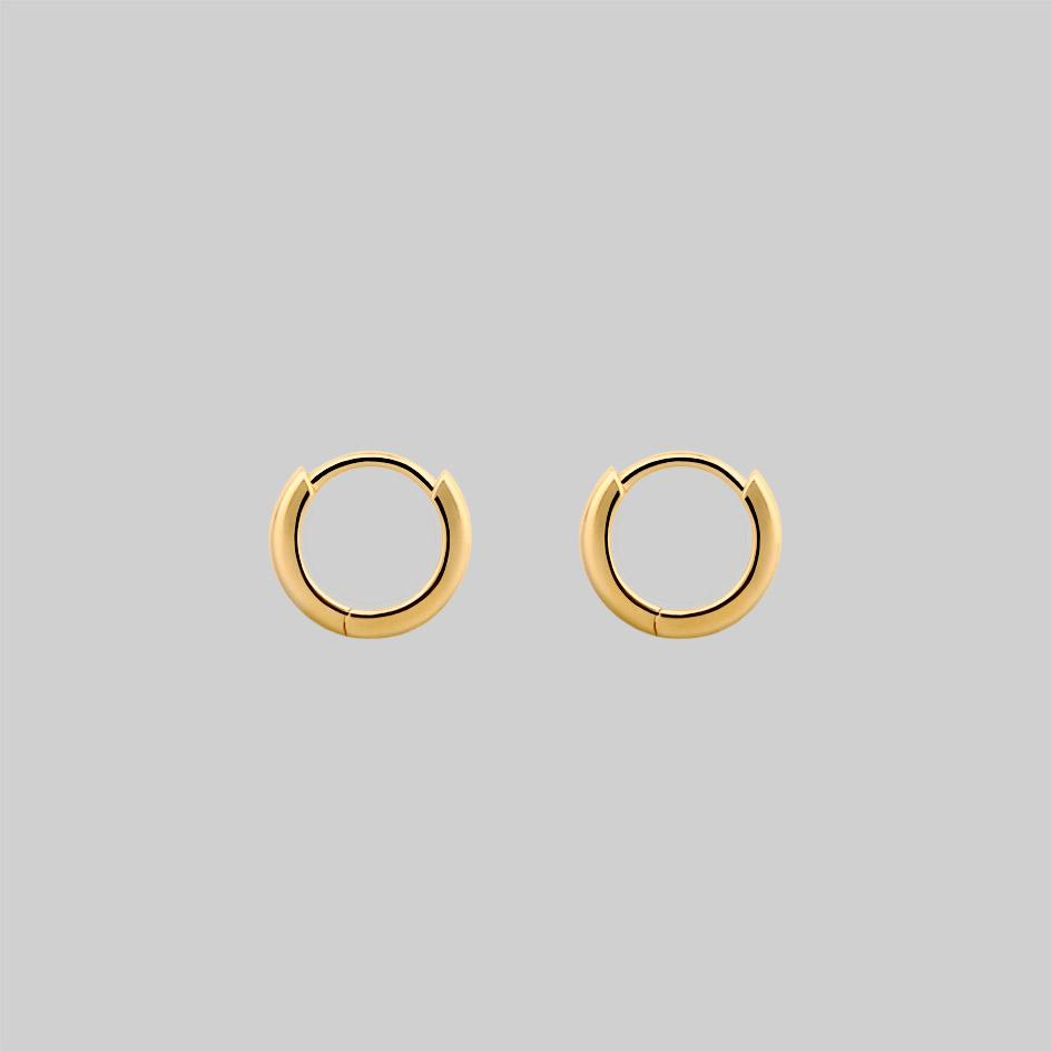 Simple Gold Clicker Hoop Earrings - 12mm