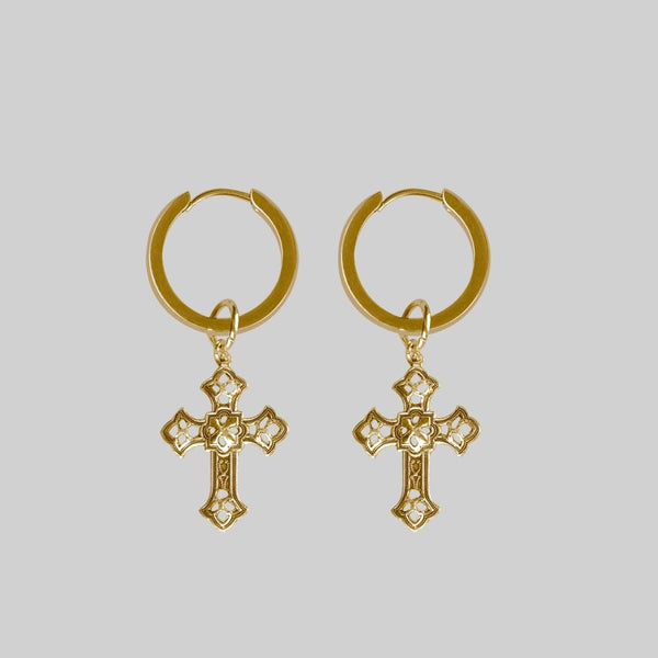 EVA. Cut Out Cross Earrings - Gold
