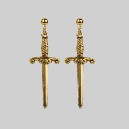 SLAY. Black Spinel Gold Dagger Single Earring