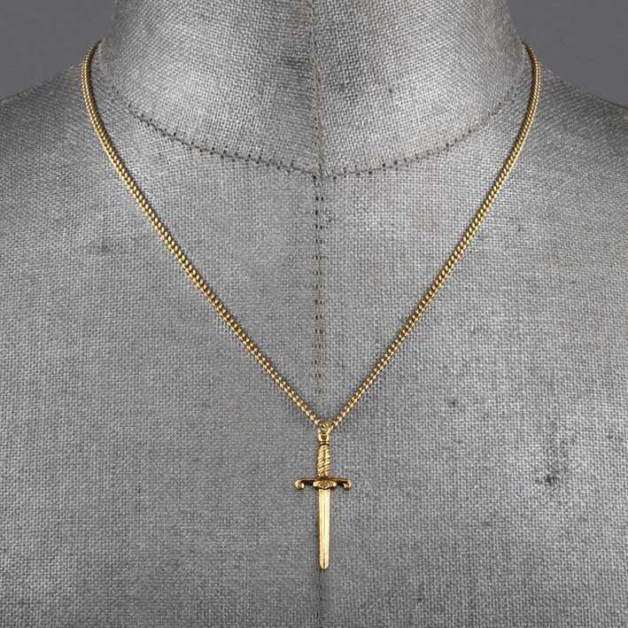 Gold dagger necklace