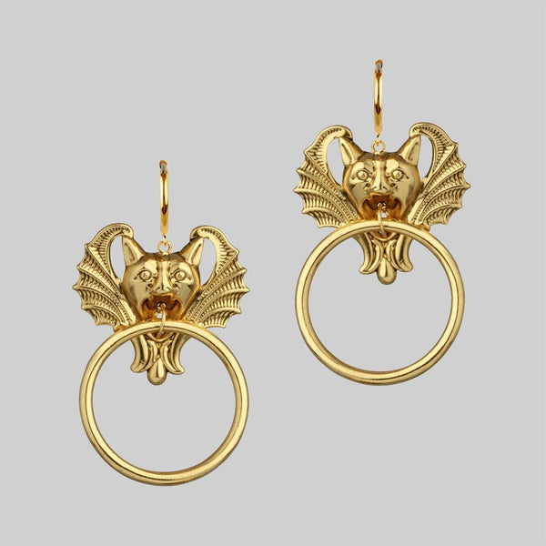 DRAKKAR. Gargoyle Knocker Hoop Earrings - Gold