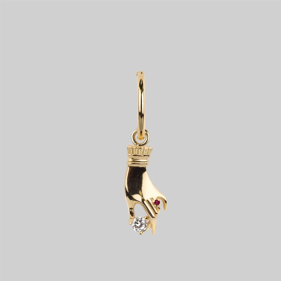 MILDRED. Disembodied Hand Hoop Earrings - Gold