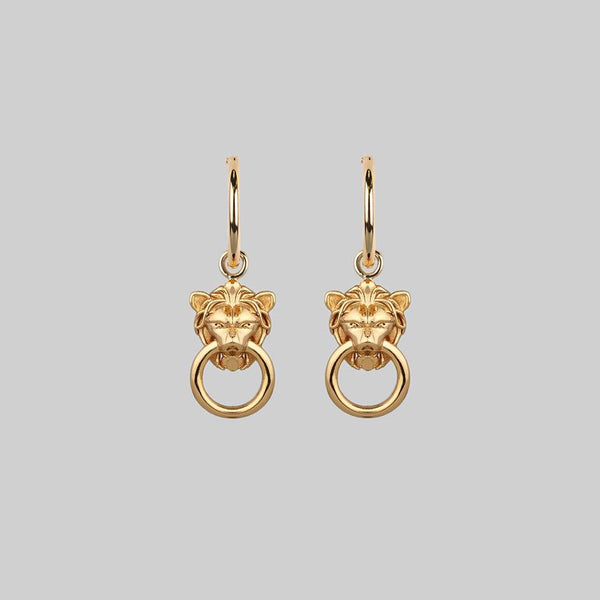 MINI ANWAR. Lion Knocker Hoop Earrings - Gold