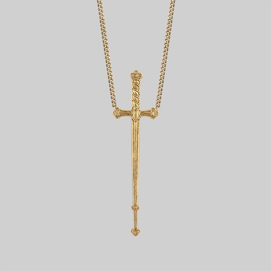 Gold sword necklace