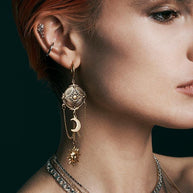 Gold-monn-and-star-chain-earrings
