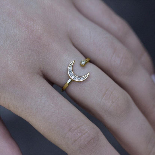 INDU. Moon & Star Gold Ring