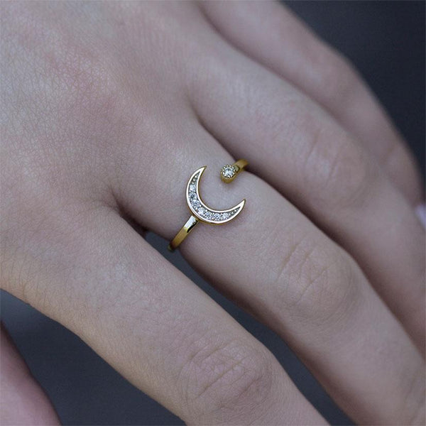Crystal moon and star ring