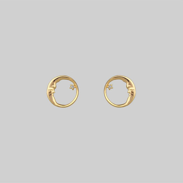 TWILIGHT. Moon Crescent & Star Earrings - Gold