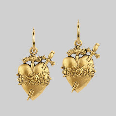 Large gold sacred heart earrings
