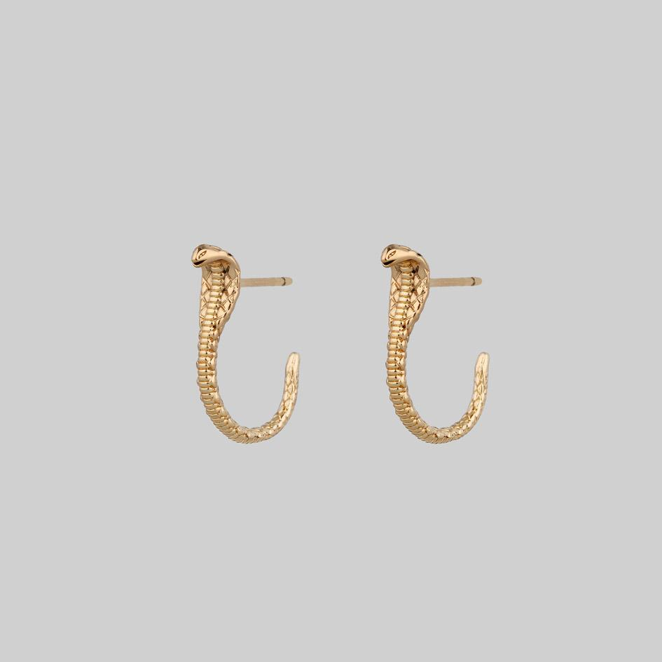 gold plated snake earrings