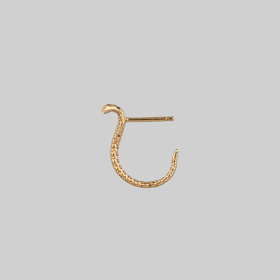 gold snake stud curl earrings