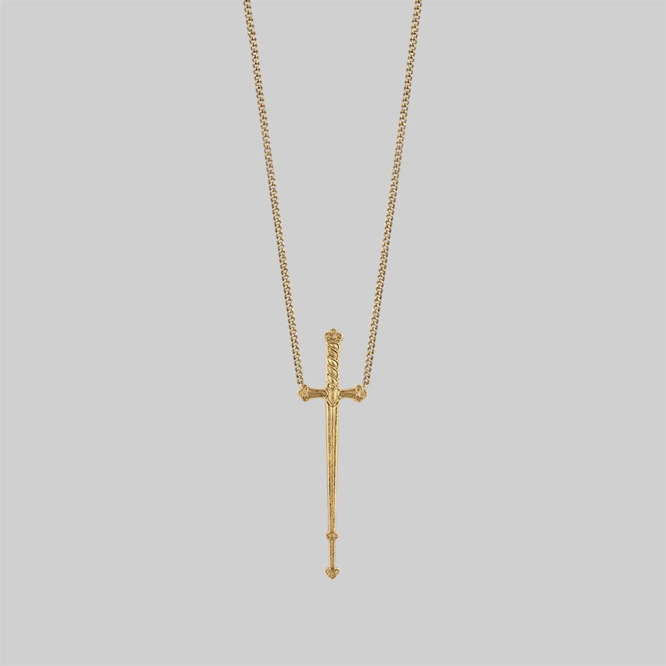 Long gold sword necklace