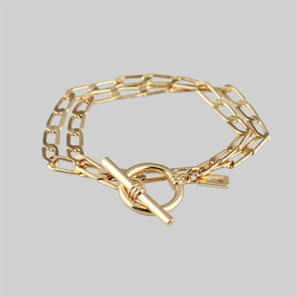 Gold t-bar chain bracelet