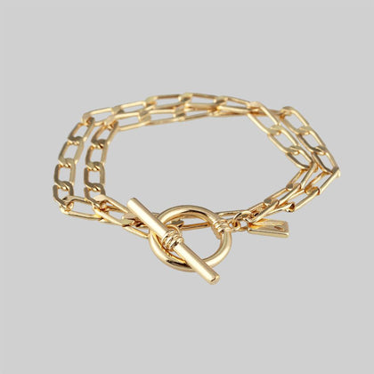 ETERNAL. Double Wrap T-Bar Bracelet - Gold