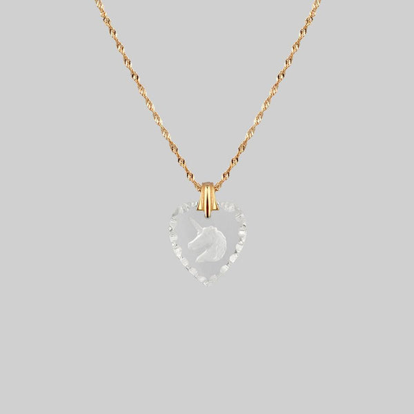 FAR & AWAY. Vintage Glass Heart Engraved Unicorn Pendant Necklace - Gold