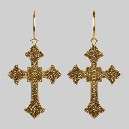 OPHELIA. Gothic Cross Hoop Earrings - Gold