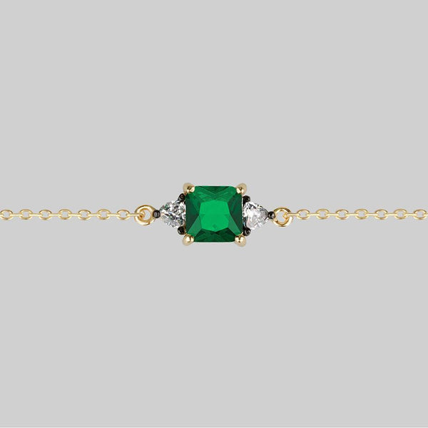 BETROTHAL. Green Quartz Chain Choker - Gold