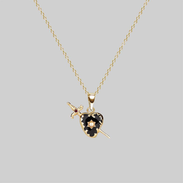 DEVOTION. Black Heart & Sword Gold Necklace