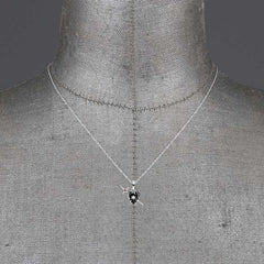 DEVOTION. Black Heart & Sword Silver Necklace