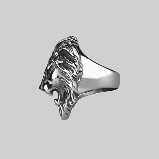 ANWAR. Chunky Lion Head Silver Ring