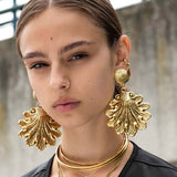 ARIEL. Ornate Shell Statement Earrings - Gold