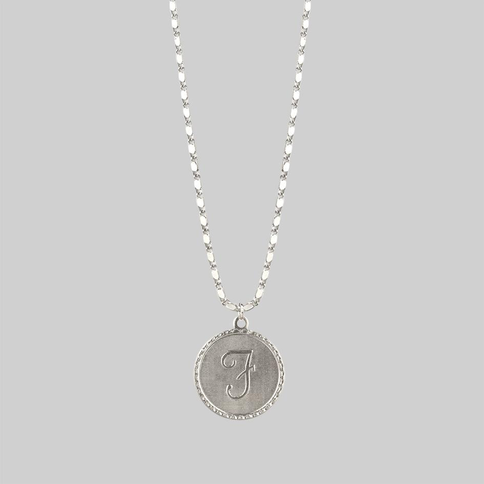 Siliver initial medallion necklace
