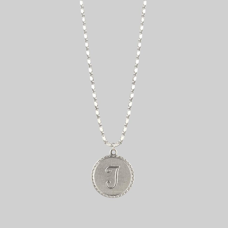 Initial Medallion Silver Necklace (A - M)