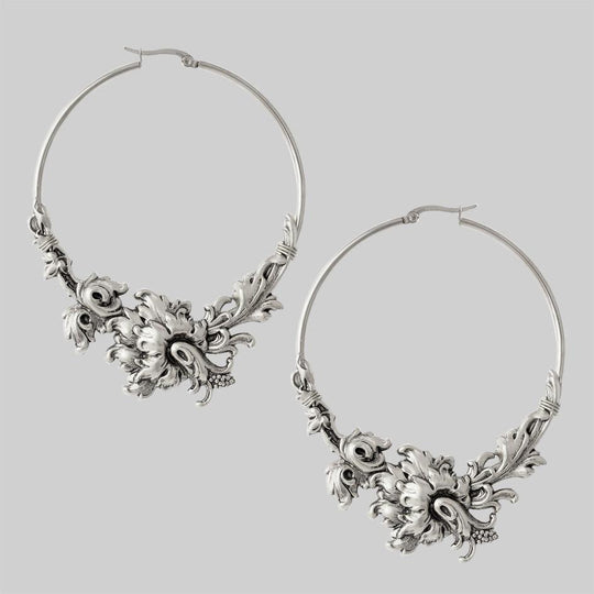 PARADISE. Ornate Floral Hoop Earrings - Silver