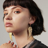 Large gold angel wing earrings