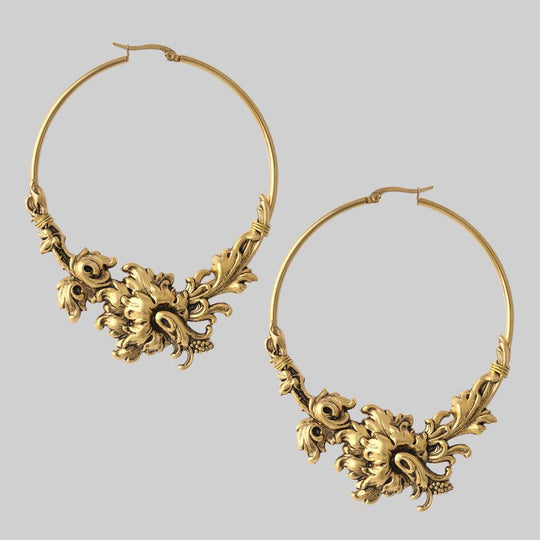 PARADISE. Ornate Floral Hoop Earrings - Gold