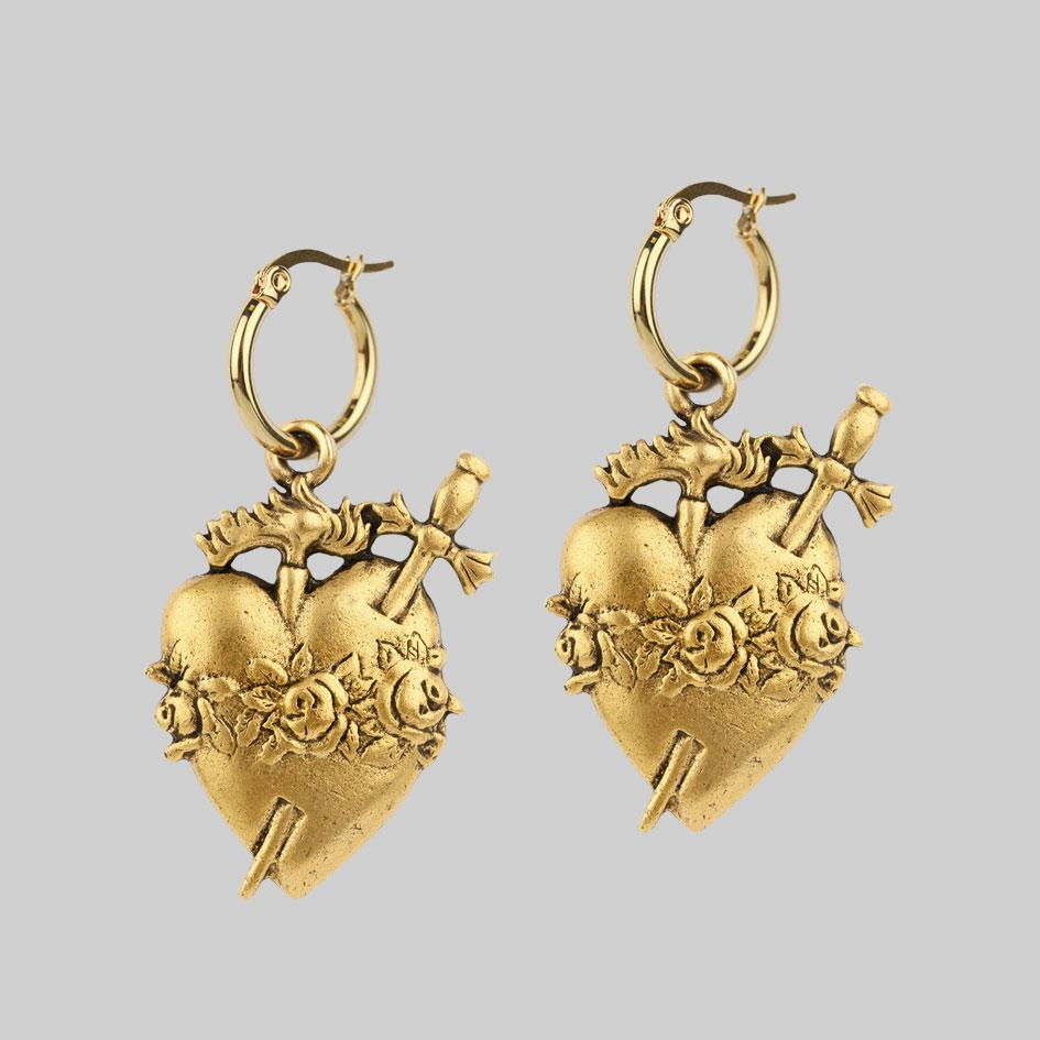 Gold sacred heart hoop earrings
