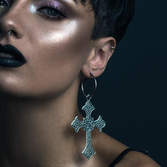 Silver gothic cross hoop earrings