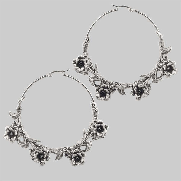 Large rose hoop earrings