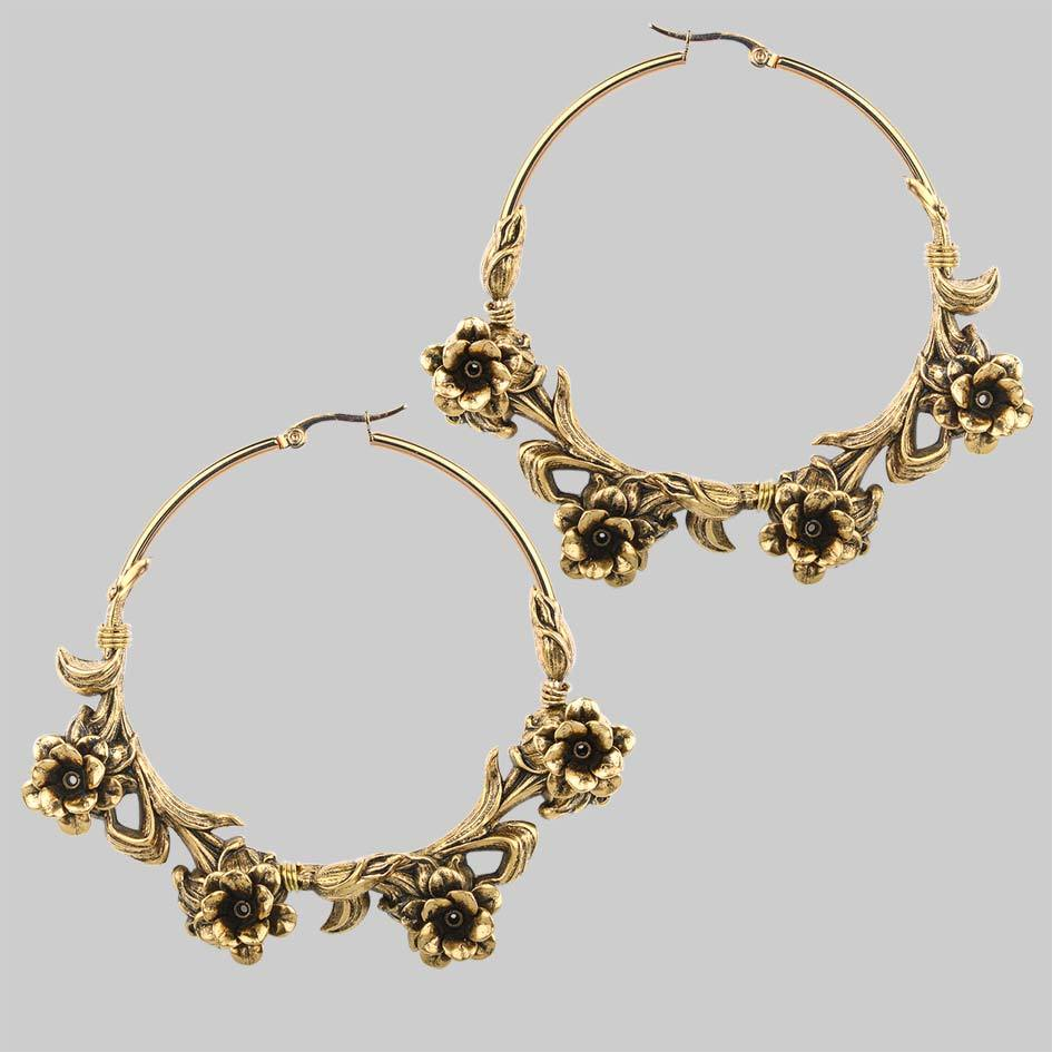 Large gold rose hoop earrings