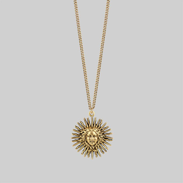 Gold long sun necklace