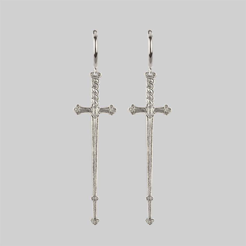 Long silver sword earrings