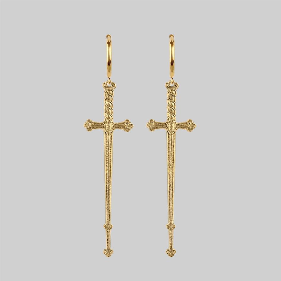 Gold sword hoop earrings