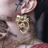 LOVEBIRDS. Heart & Bow Earrings - Gold