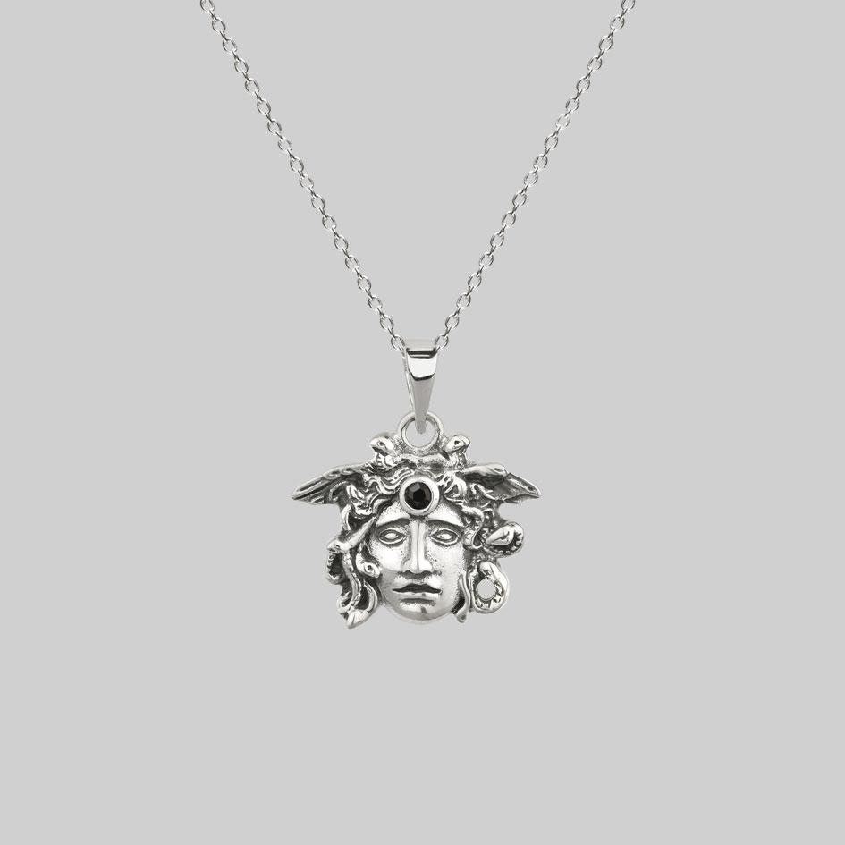 sterling silver medusa necklace