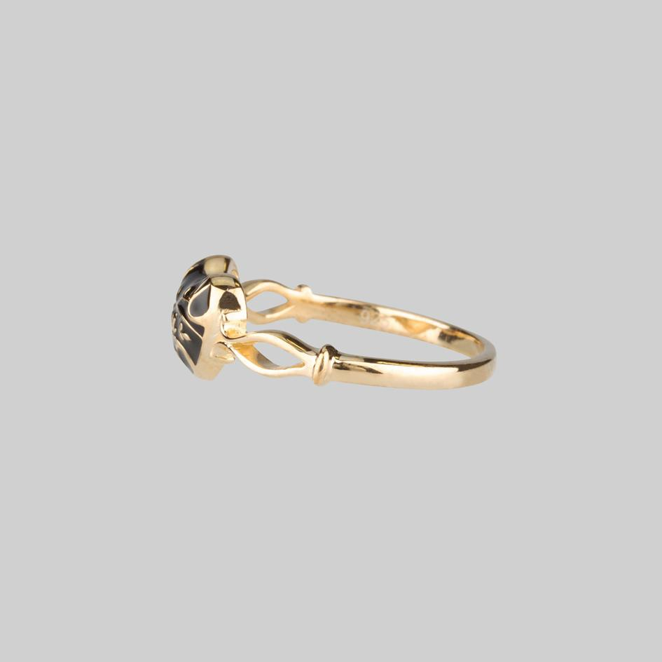 Black Enamel Heart Gold Ring Side View