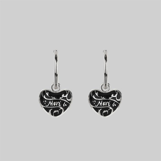 MEMENTO MORI. Heart Hoop Earrings - Silver