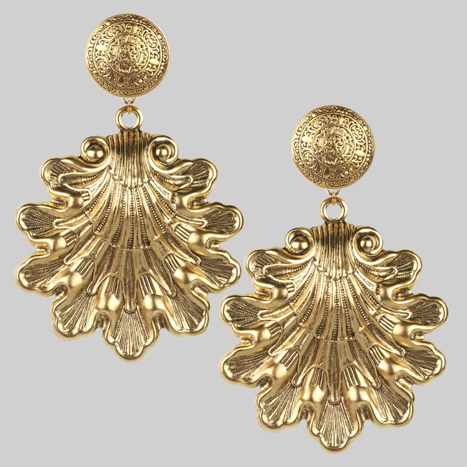 Huge gold shell earrings