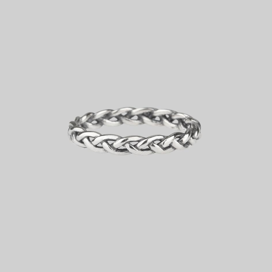 Plait band ring silver