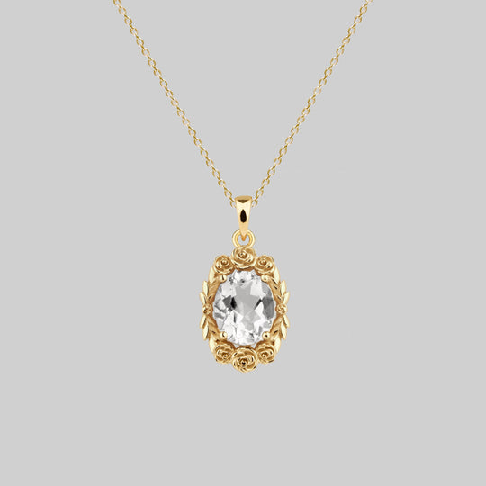 MARIA. Rose Wreath Clear Quartz Necklace - Gold