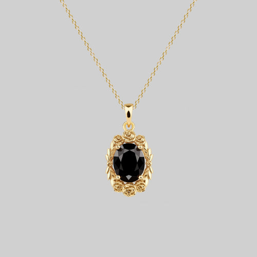 rose wreath black onyx gemstone necklace gold