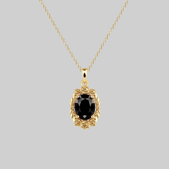 MARIA. Rose Wreath Onyx Necklace - Gold