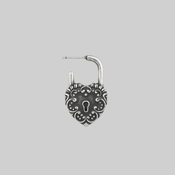 KEEPER. Ornate Heart Padlock Silver Earrings